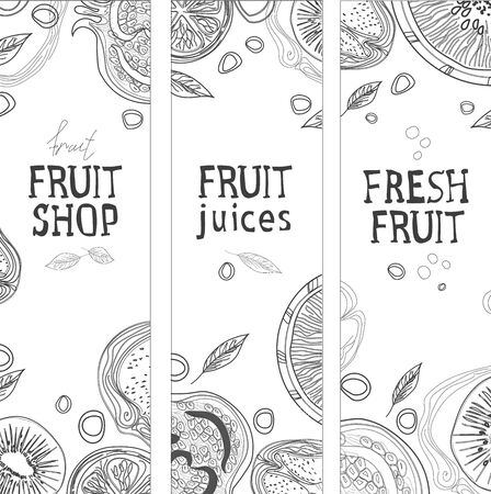 Fruit and juice menu. Blank for menu or banner. The style of writing with ink. Healthy and healthy food
