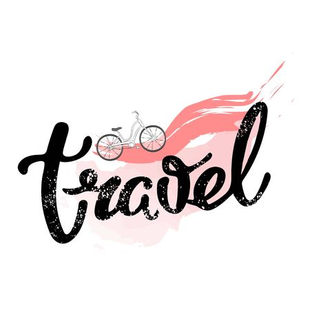 Travel phrase motivator. Visualization of dreams. A motivational poster on the journey, and the painted font. Vector illustration Иллюстрация