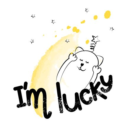I was lucky to have an inspirational positive phrase. Visualization of good luck and good life. Cute cat motivator. Vector illustration Vettoriali