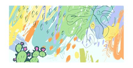 Vector illustration. Green summer tropical background. Hand-drawn texture. Suitable for Wallpaper, greeting card, party Invitation, wedding, anniversary, birthday. Printing on posters, banners, textiles.
