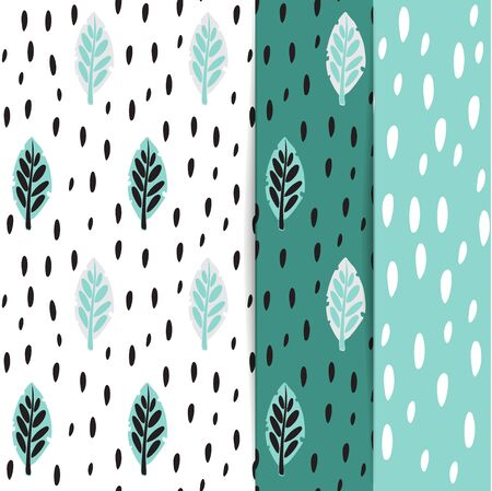 Vector illustration. Botanical illustration. Green, emerald tropical background with exotic tropical leaves. Seamless pattern, Wallpaper