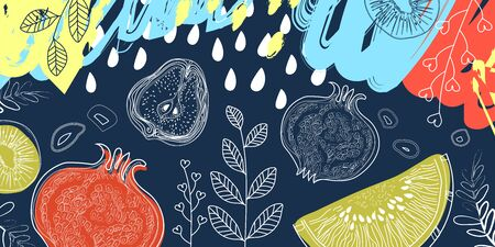 Fruits and floral elements on dark Indigo color background, pattern style with markers, pencils. For kitchen or cafe banner.  Vector illustration