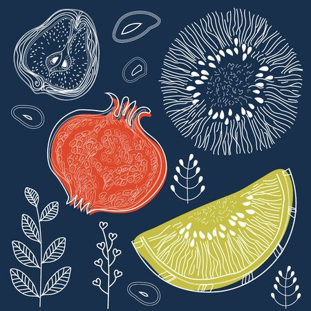 Fruits and floral elements on dark Indigo color background, pattern style with markers, pencils. Vector illustration