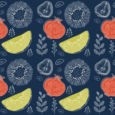 Fruits and floral elements on dark Indigo color background, pattern style with markers, pencils. Seamless pattern. Vector illustration