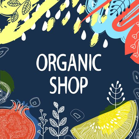 Fruits and floral elements on dark Indigo color background, pattern style with markers, pencils. Banner for website, store organic products. Vector illustration
