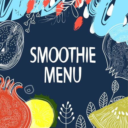 Fruits and floral elements on dark Indigo color background, pattern style with markers, pencils. Banner fruit menu for cafe. Vector illustration