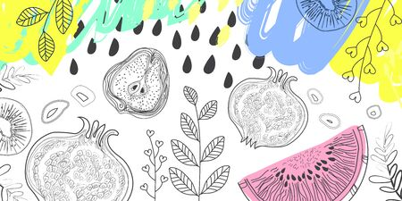 Fruits and floral elements on white background, pattern style drawing markers, pencils. For kitchen or cafe banner. Vector illustration
