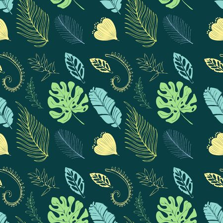Vector illustration. Botanical illustration. Green, emerald tropical background with exotic tropical leaves. Seamless pattern, Wallpaper. Иллюстрация