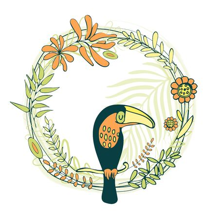 Vector illustration. Frame in tropical style in the shape of a circle. Tropical leaves, flowers and patterns on a white background. For greeting cards, invitations, textiles Иллюстрация
