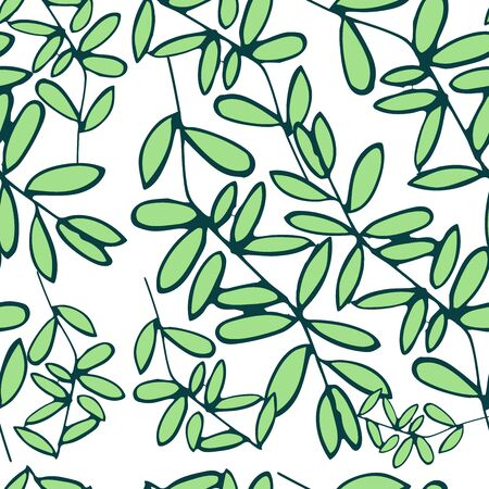 Summer background with green leaves. Vector background. Green leaves on a white background. Seamless tropical vector pattern.