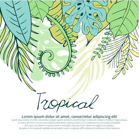 Botanical illustration. Green summer tropical background with exotic palm leaves and flowers. Vector floral background. Green palm and tropical leaves on a white background. Suitable for wedding card, anniversary, birthday, party invitation. Vector.