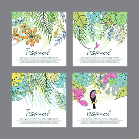 Botanical illustration. Summer tropical background with exotic green palm leaves and flowers. Vector floral background. For wedding greeting cards, anniversary, birthday, Invitations to a party.