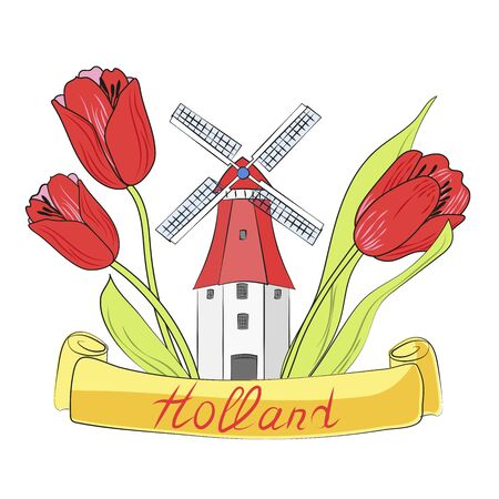 Windmill and tulips of Holland. Can be used as a logo, sign, symbol. Suitable for printed products, postcards, souvenirs