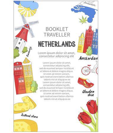 Design of booklet or banner. Travel Netherlands. Vector illustration.