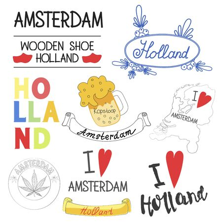 Vector illustration. A set of words and phrases about Holland. Suitable for the design of postcards, magazines, banners. Иллюстрация