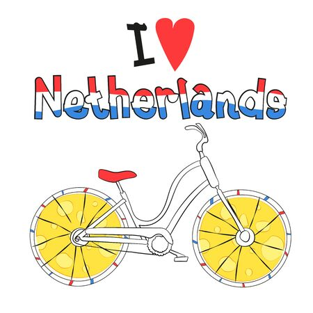Vector illustration. Bicycle, as a symbol of Amsterdam, creative illustration. Suitable for the design of postcards, magazines, banners.