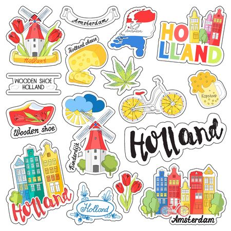 A set of stickers for design, planning summer vacation, travel, adventure or business trip. Doodle cartoon icons, the tourist sites of the Netherlands. Vector illustration Stock Illustratie