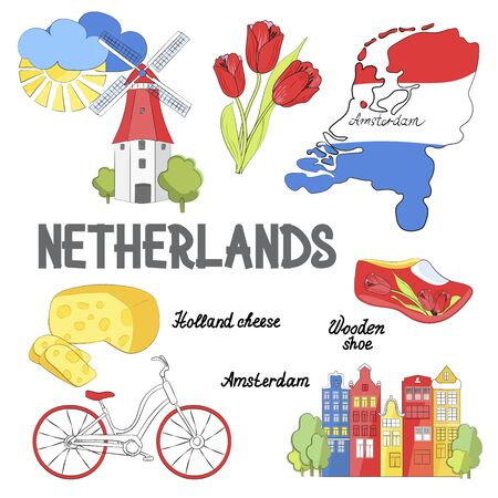 Holland travel. Cultural and excursion symbols. Poster with tulips, Dutch cheese, bicycle, wooden clogs and windmills. Vector illustration.