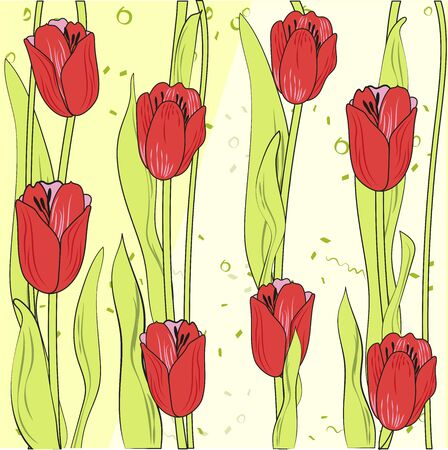 Background of bright colors tulips. Vector illustration in flat style. Can be used for covers of books, notebooks, postcards. For fabrics and Souvenirs Иллюстрация