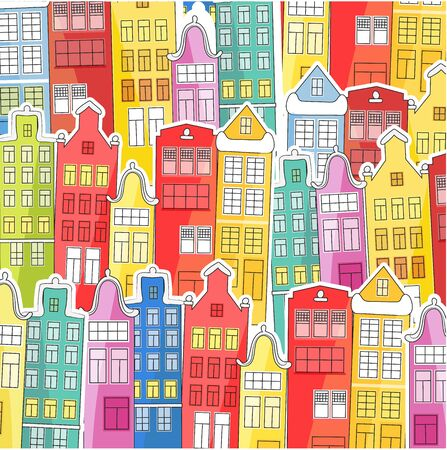 Background of bright, colored houses. Vector illustration in a flat style. Suitable for cover of books, notebooks, covers. For fabrics and souvenirs