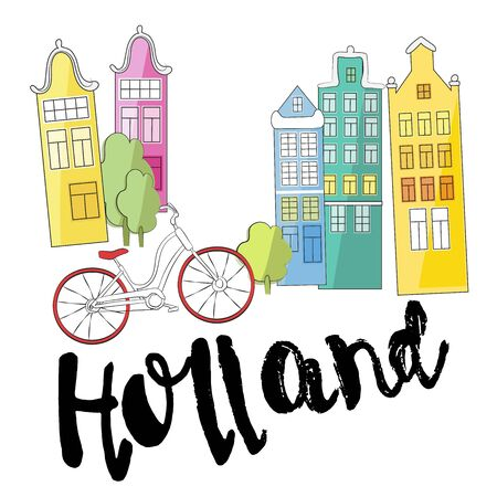 Holland. Cultural and excursion symbols. Vector illustration. Suitable for printing on posters, souvenirs, booklets, T-shirts