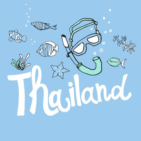 Vector illustration of Thailand. Water world. Inscriptions and symbols of scuba diving on a blue background.