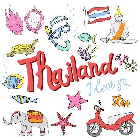 Travel Concept Thailand Landmark Flat Icons Design .Vector Illustration Иллюстрация