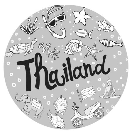 Vector illustration of Thailand. Inscriptions and symbols of the country in the form of a circle. Иллюстрация