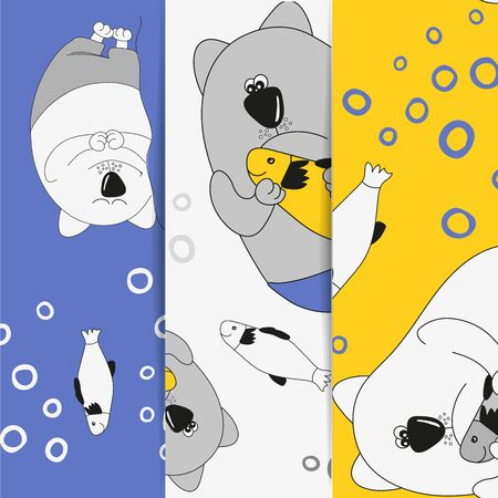 Set with seamless pattern . Collection of vector illustrations. Amazing cats. Fat, funny cat. Decor cats in childrens style in amazing colors. Childrens background. Can be used for printing on fabric, paper, postcards.