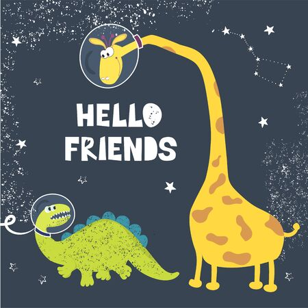 Cute Dino and a giraffe in a cosmonaut helmet. Sketch of T rex and astronaut dinosaur with inscription. Cartoon for baby cards, books, t shirts, textiles