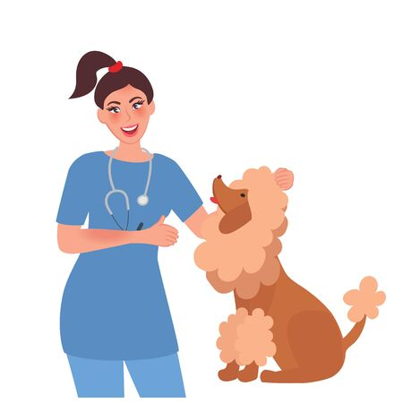 Veterinarian examines the dog in the veterinary clinic. The concept of medicine and pet care. Vector illustration of a person's profession