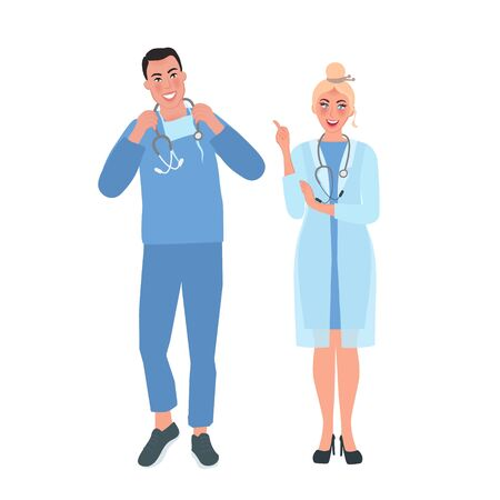 The doctors of a surgical profile medical uniform. Medical workers. Vector illustration