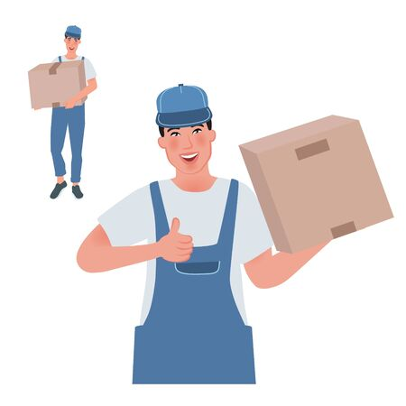 Guy loader holds the box and shows a gesture all right. Vector illustration of hard work man
