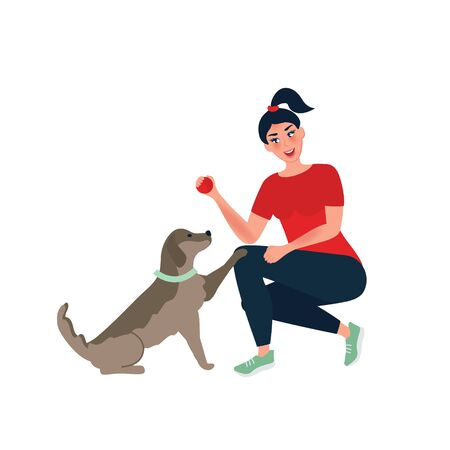 The girl is engaged in training her pet. Playing ball with a dog. Caring and caring for a puppy. Vector illustration