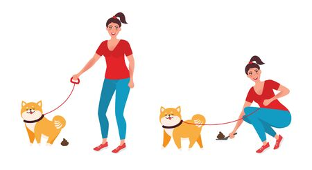 The girl removes the feces after the dog. A female character walks a dog on a leash. Vector illustration of pet care