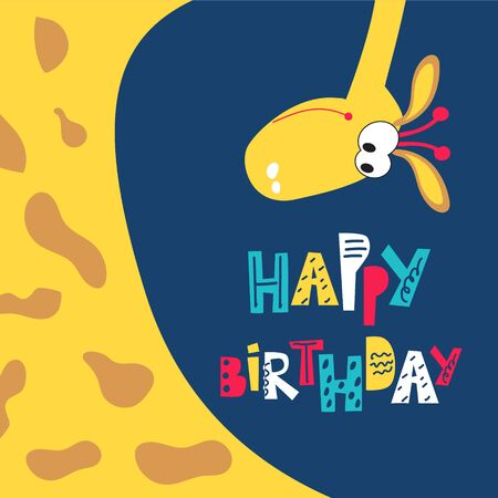 Children's greeting card with a giraffe. Happy birthday wishes for kids. Holidays vector illustration
