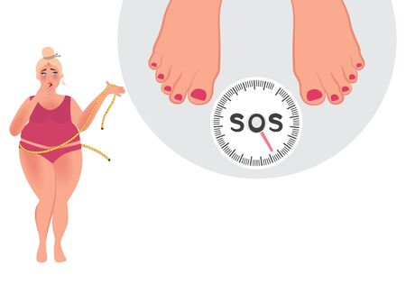 A fat woman measures her waist. Weighing on the scales. Control of body weight. The problem of human obesity in modern society. Vector illustration of healthcare