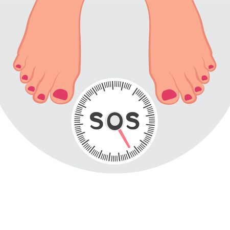 Weighing a person on the scales, weight control. Scales for weighing. The social problem is obesity.  Vector illustration of health