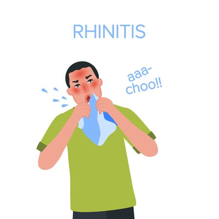Symptoms of a cold in an adult. Sneezing, headache, fever, nasal congestion. Vector illustration of viral diseases of the upper respiratory tract