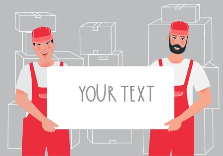 The service template for Express delivery. Movers in overalls hold a box. Courier, operator of loading and unloading operations. Vector illustration of a profession