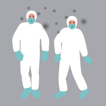 People in protective masks are scared of a virus infection. Acute infectious disease. Vector illustration of emergency situations