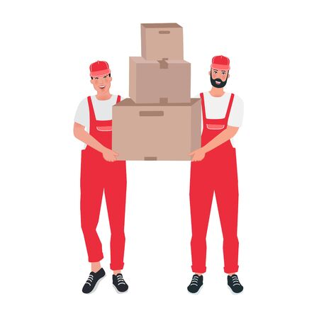 Couriers men in overalls with boxes. Courier delivery service. Profession loading and unloading operator. Vector illustration