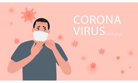Coronavirus poster. A scared young man in a medical mask. World pandemic. Vector illustration of the disease