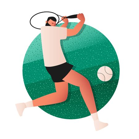 A professional tennis player hits a ball flying in his direction with a racket. Sports game with a small ball. Vector illustration of team sports