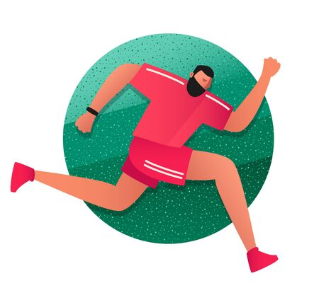 Running sports man dressed in a tracksuit.  Summer runner in the fresh air. Physical activity. Vector flat illustrations in the style of comics