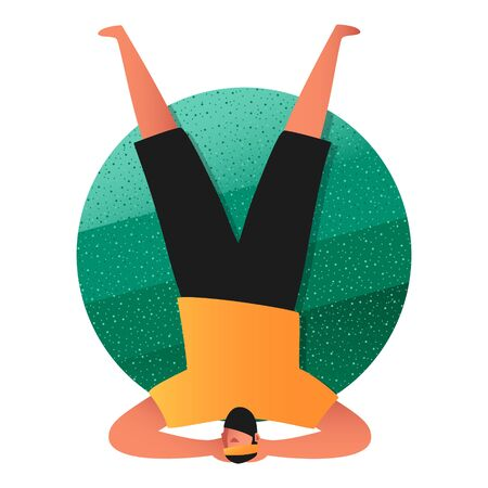 A sporty man in a yoga pose, standing on his head with his legs raised. Asanas Of Shirshasana. Balance and body training. Illustration of an active lifestyle