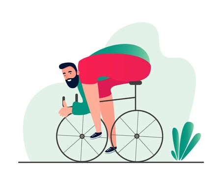 Sporty man on a Bicycle. Modern conceptual illustration of a person riding a Bicycle in sports equipment. Vector symbols of an active lifestyle Vectores