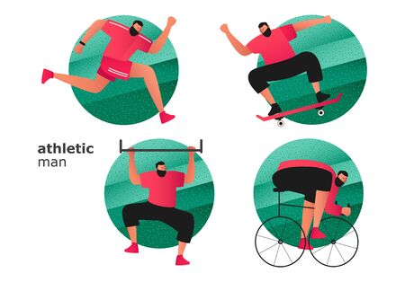 A set of athletes from different sports. A cyclist and a runner participate in a triathlon. Guy on a skateboard. The athlete on the crossbar lifts the body. Vector illustration of active sports