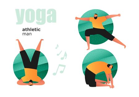 A set of yoga asanas and stretching exercises. A man in a gym in a t-shirt and leggings. Illustrations in the style of comics about a healthy and active lifestyle