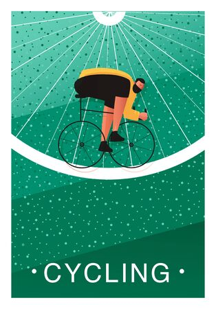 Cycling dust jacket. A bicyclist biker participates in a marathon. Vector illustration of extreme sports